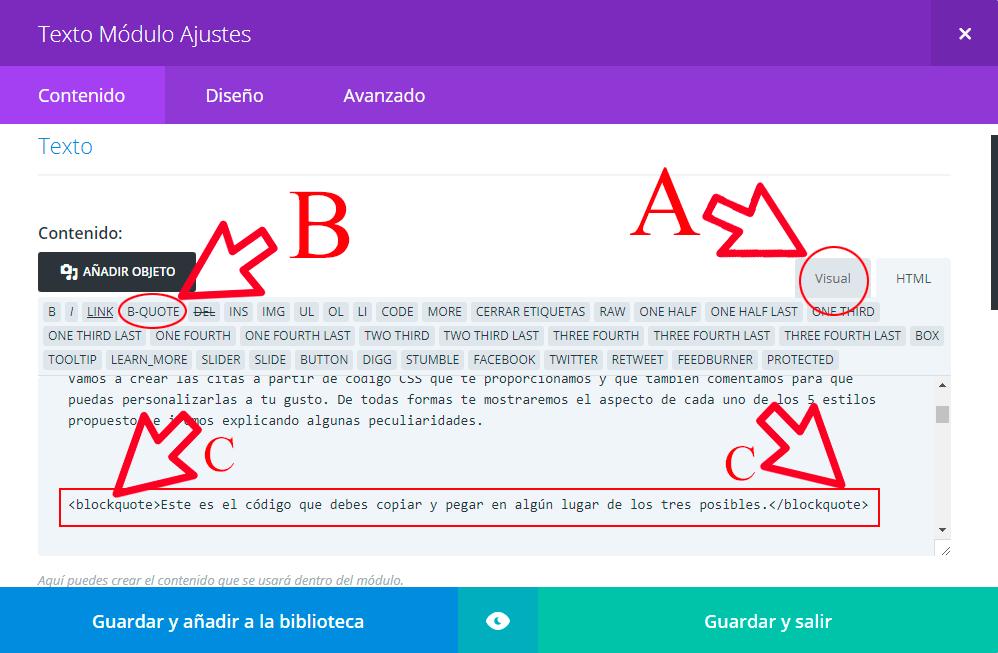 editor-de -texto-modo-html. Tutorial Divi. Quotes